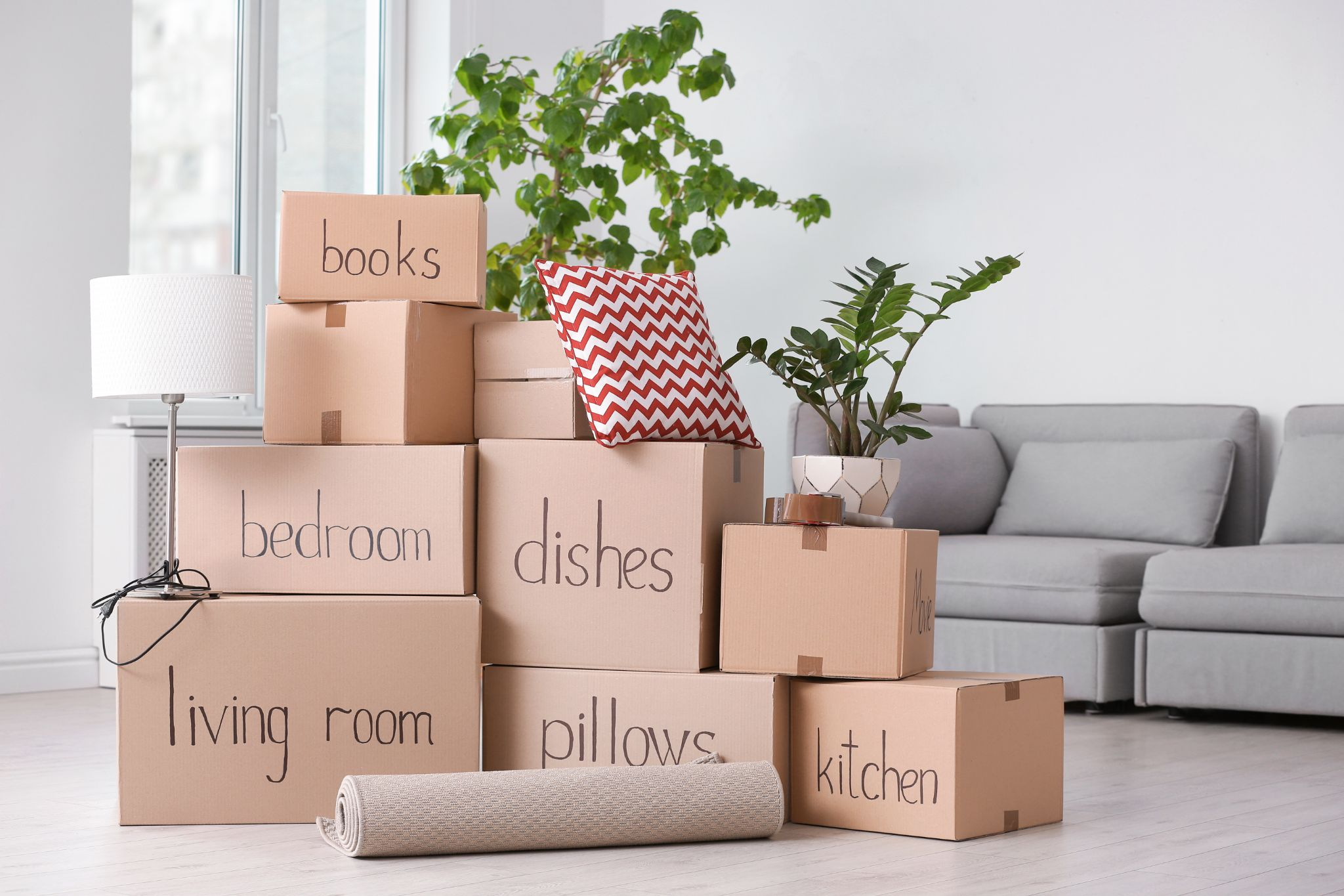 Moving boxes packed by a professional apartment moving company such as Melendez Moving in Chicago, IL.